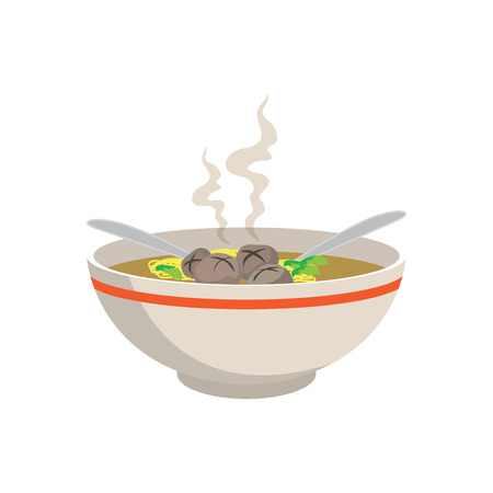 hot yellow noodle soup with meat balls in chinese bowl and spoons on white background, vector illustration
