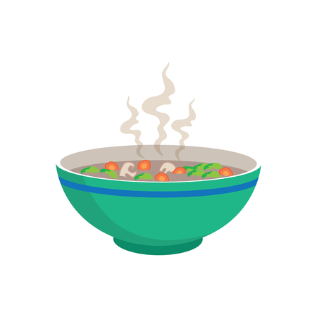 thai noodle: hot sausage soup with vegetable and mushroom in chinese bowl and spoons on white background, vector illustration Illustration