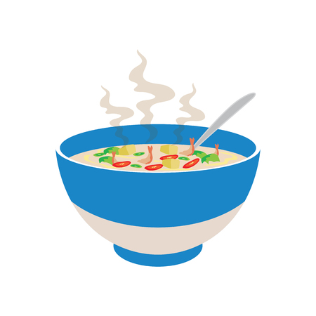 Hot spicy soup with vegetable and prawn in Chinese bowl and smoke effect. Vettoriali