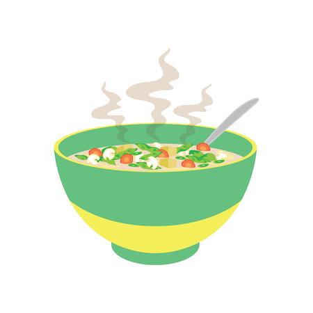 Sopa caliente con vegetales, champiñones, zanahoria en tazón chino y cucharas. Ilustración de vector