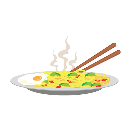 Hot fried yellow noodle with fried egg and chili on plate and chopstick on white background. vector illustration