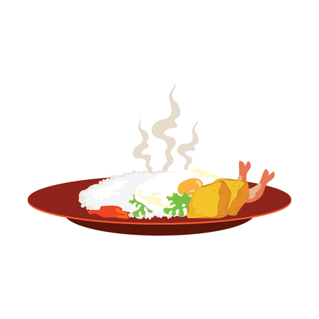 hot rice with fried egg, tofu and shrimp on plate and smoke on white background. vector illustration Illustration