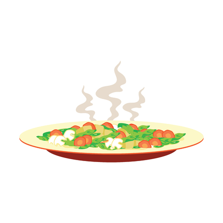 Hot vegetable, mushroom, carrot on a plate with smoke with white background, vector illustration Illustration