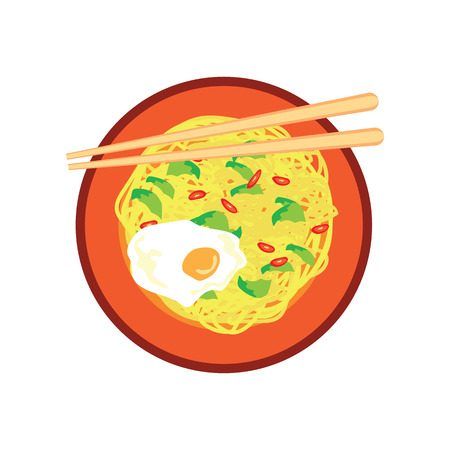 Hot fried yellow noodle with fried egg and chilli on plate and chopstick on white background. vector illustration