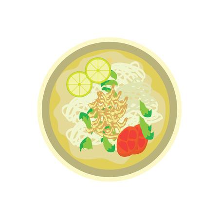 Hot fried white noodle with lemon and tomato garnish on white background. vector illustration Ilustração