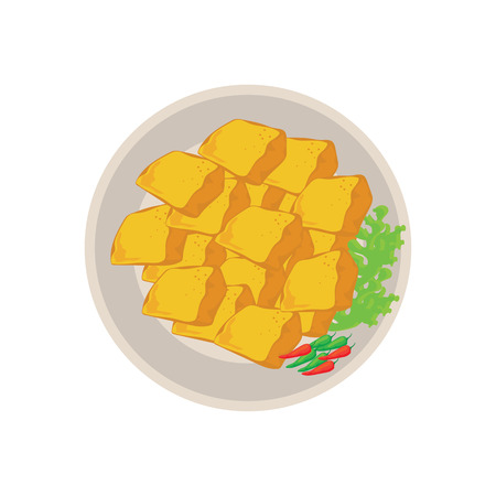 hot fried yellow tofu on plate with white background. vector illustration
