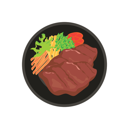 hot meat steak with potato, tomato and vegetable garnish on black plate with white background. vector illustration Illustration
