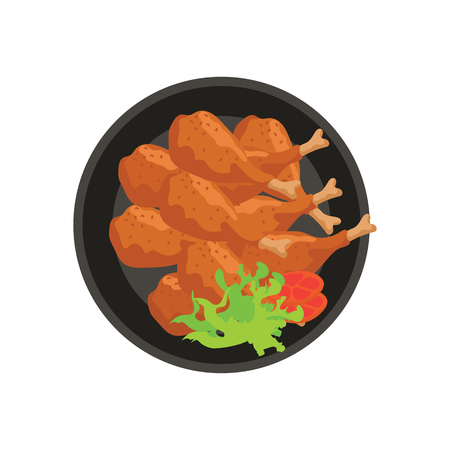 hot fried chicken thighs with vegetable and tomato garnish on plate with white background. vector illustration Ilustração