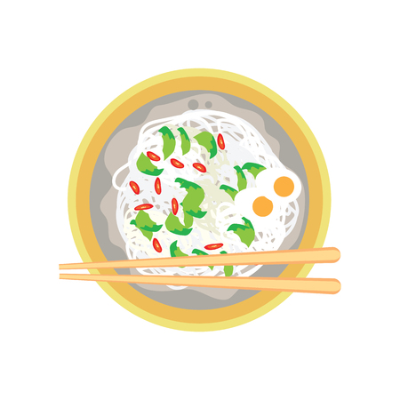 hot fried white noodle with boiled egg and chili on plate and chopstick on white background. vector illustration Banco de Imagens - 74541875