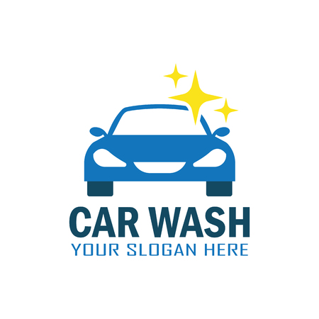 car: Blue car wash service logo with text space for your slogan, vector illustration.