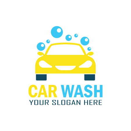 Yellow car wash service logo with text space for your slogan, vector illustration.
