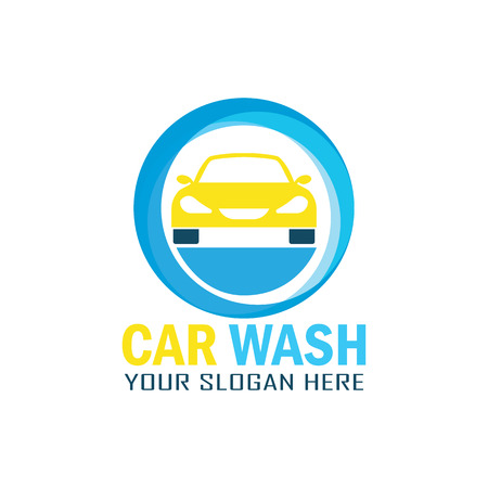 car: Car wash service logo with text space for your slogan, vector illustration in a circle. Illustration