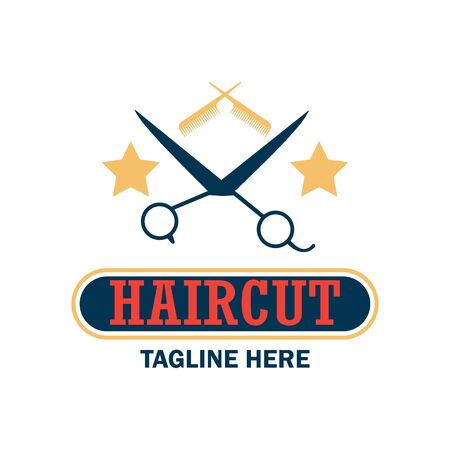 male grooming: Barber shop logo with text space for your slogan  tagline, vector illustration