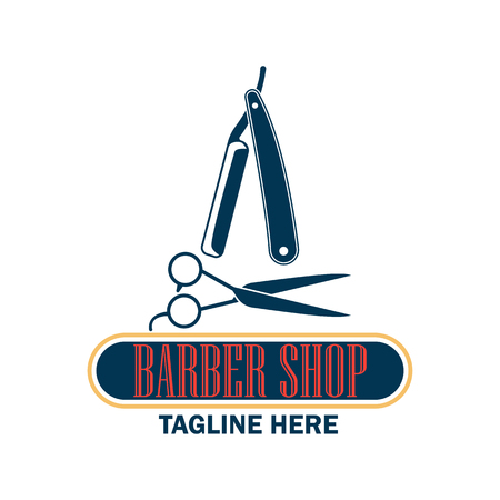 Barber shop logo with text space for your slogan  tagline, vector illustration