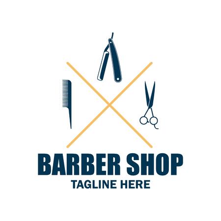 Logotipo de la tienda del peluquero con el espacio de texto para su eslogan, lema ilustración / vector