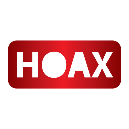 hoax: Red hoax text design in red color vector illustration Illustration
