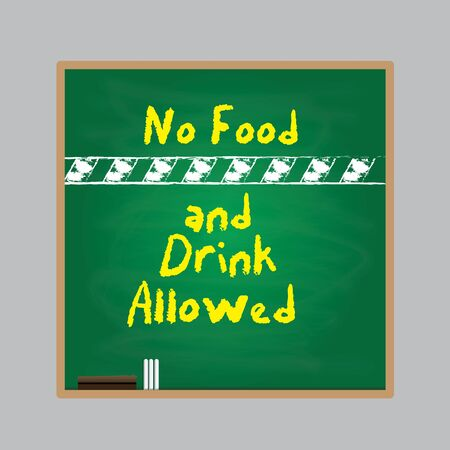 slash: no food and drink allowed symbol written with a chalk style on black and green background. vector illustration