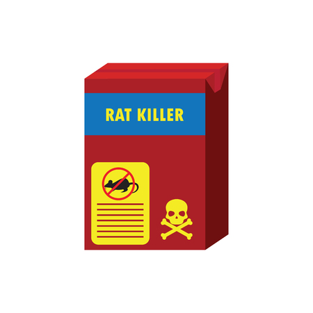 box of rat killer poison and no rat sign concept. vector illustration Çizim
