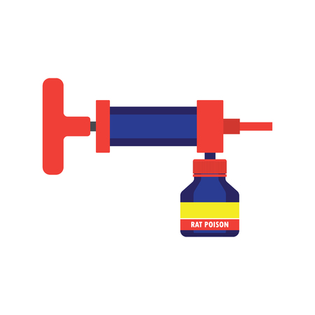 mouse: spray of rat killer poison and no rat sign concept. vector illustration