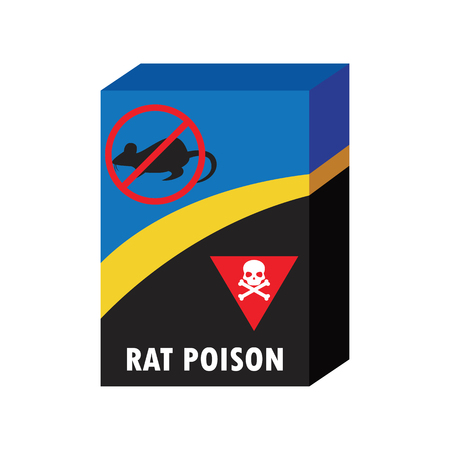 Scatola di veleno killer e nessun concetto di segno di ratto. illustrazione vettoriale Archivio Fotografico - 76751445