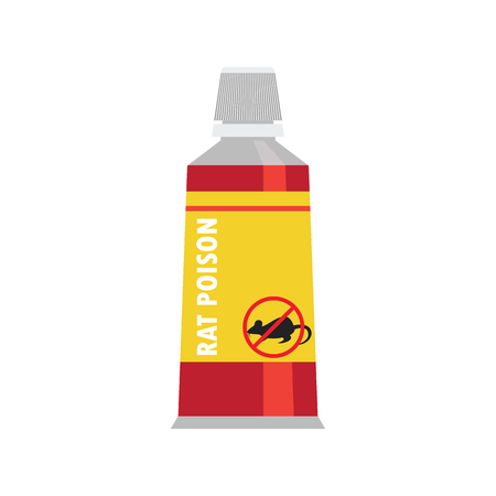 rat killer poison cream in tube in the bottle concept. vector illustration Illustration