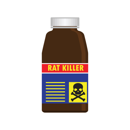 poison bottle: Rat killer poison liquid in the bottle concept. vector illustration