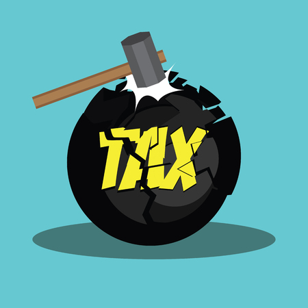 paying: tax cut concept to reduce taxes paying less. vector illustration