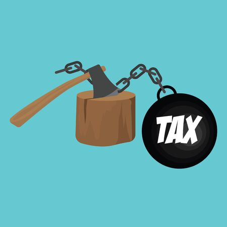 tax handcuffs cut with ax concept to reduce taxes paying less. vector illustration Illustration