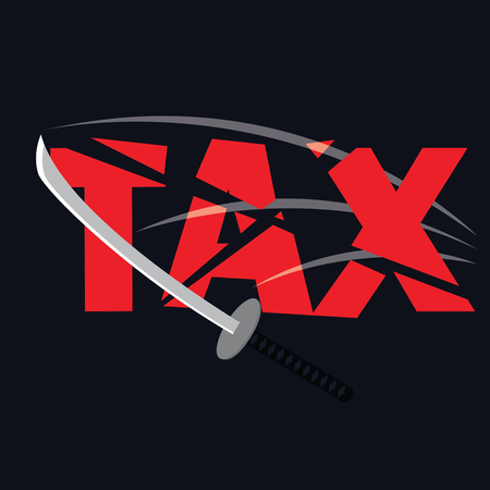reduced: tax paper cut with sword concept to reduce taxes paying less. vector illustration Illustration