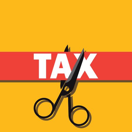 tax paper cut with scissor concept to reduce taxes paying less. vector illustration