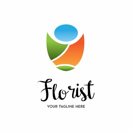 tagline: florist logo with text space for your slogan  tagline, vector illustration