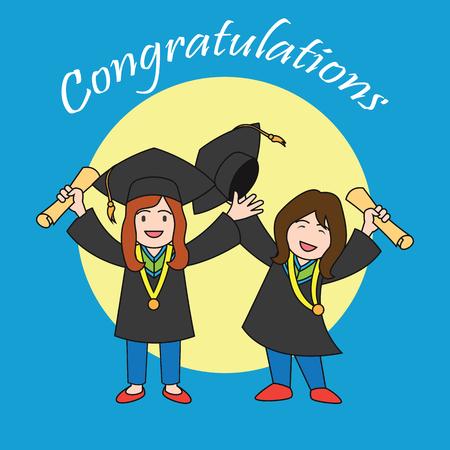 accomplish: graduation events  happiness of graduation concept, vector illustration
