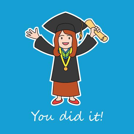 eventos de graduación / felicidad del concepto de graduación, ilustración vectorial