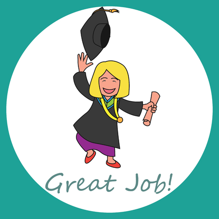 college campus: Graduation events  happiness of graduation concept, vector illustration Illustration
