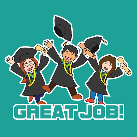 Graduation events  happiness of graduation concept, vector illustration Illustration