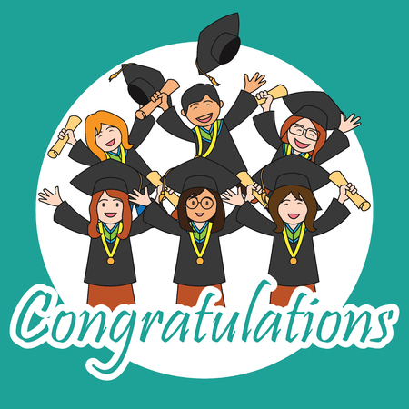 accomplish: Graduation events  happiness of graduation concept, vector illustration Illustration