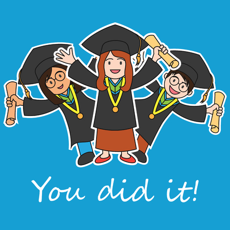 Graduation events  happiness of graduation concept, vector illustration Illustration