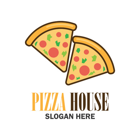 pizza logo with text space for your slogan  tag line, vector illustration Illustration