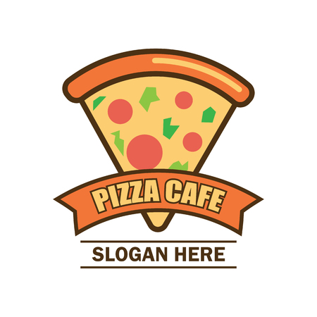 Pizza logo with text space for your slogan  tag line, vector illustration
