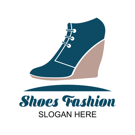 shoes store, shoes shop logo with text space for your slogan  tag line for fashion business. vector illustration