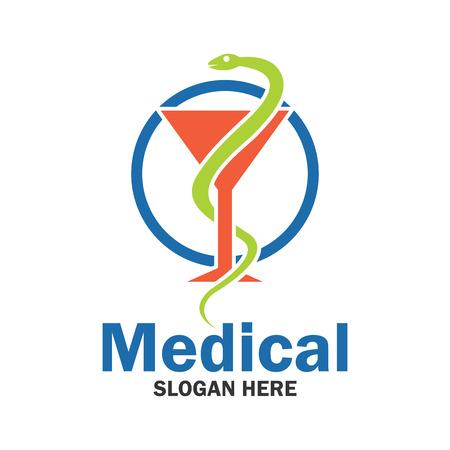 Médico, logotipo de la farmacia con espacio de texto para su lema  línea de etiqueta, ilustración vectorial Vectores