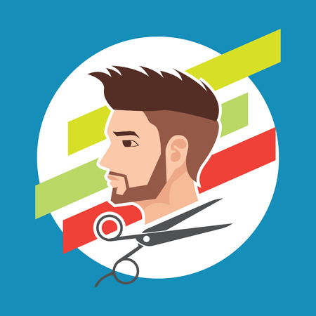 hair cut  hairstyle model for male concept, vector illustration Illustration