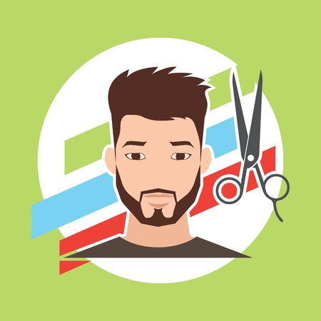 male grooming: hair cut  hairstyle model for male concept, vector illustration Illustration