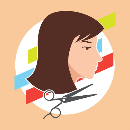 hair cut  hairstyle model for woman concept, vector illustration