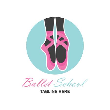 zapatos escolares: Logotipo del ballet para la escuela del ballet, estudio de la danza. Ilustración vectorial Vectores