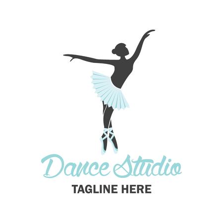 logo music: ballet logo for ballet school, dance studio. vector illustration
