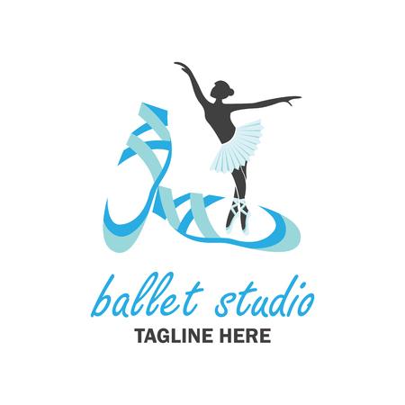 ballet logo for ballet school, dance studio. vector illustration