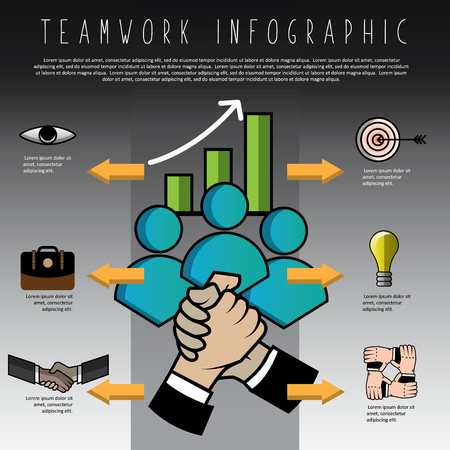 Businessman shaking hand teamwork info graphic business concept, unity, support, togetherness, vector illustration