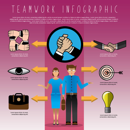 businessman shaking hand teamwork info graphic business concept, unity, support, togetherness, vector illustration Illustration