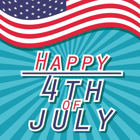 nationalism: american independence day 4th of July poster, red blue white flag. vector illustration